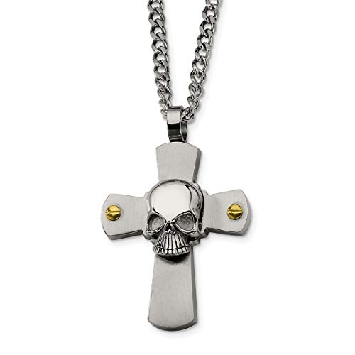 ICE CARATS Stainless Steel Yellow Plated Skull On Cross Religious 24 Inch Chain Necklace Man Pendant Charm Gothic Fashion Jewelry for Dad Mens Gifts for Him