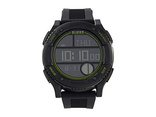 GUESS Men's Stainless Steel Quartz Watch with Silicone Strap, Black, 24 (Model: GW0225G3)