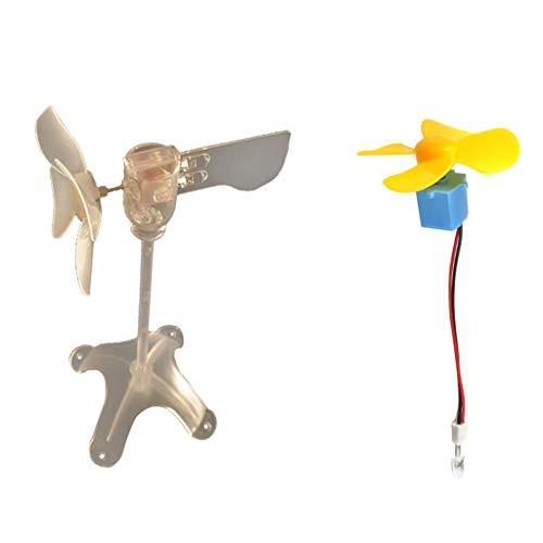 LED Windgenerator Turbine Wind & Wasser Power Lehrmodell DC Motor Fan Mini Generator 2 Teile/Satz