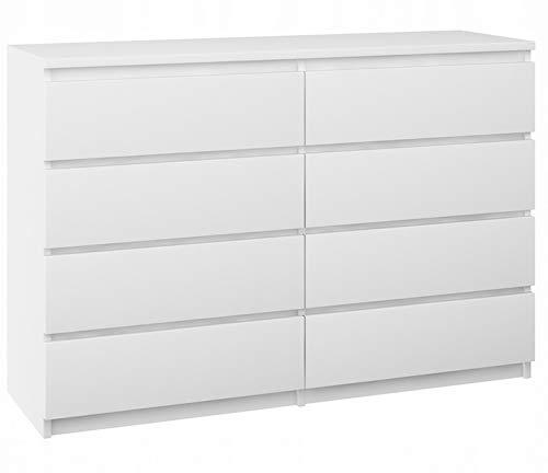 Megaastore Sideboard mit 8 Schubladen Kommode Anrichte Schrank Schubladenschrank Beistellschrank Mehrzweckschrank | BREIT Schubladenkommode Weiß 120x35x77cm