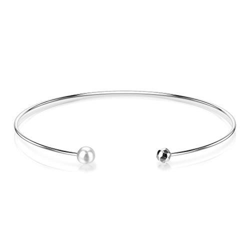 Bungsa® Offener Damen-Armreif mit Perle aus 316L Edelstahl (silber)