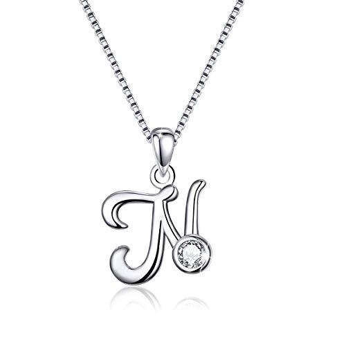 Initial Necklace 925 Sterling Silver Alphabet N Letter Necklaces Pendant Monogram Necklace