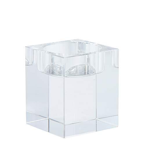 DecentGadget 6CM Hight K9 Elegant Glass Crystals Square Votive Tealight Candle Holder Cuboid Candle Holder for Party Ceremony Wedding Centerpiece Home Decoration (6CM hight)