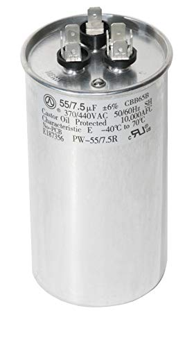 PowerWell 55+7.5 uf MFD 370 or 440 Volt Dual Run Round Capacitor TP-CAP-55/7.5/440R Condenser Straight Cool/Heat Pump Air Conditioner - Guaranteed to Last 5 Years
