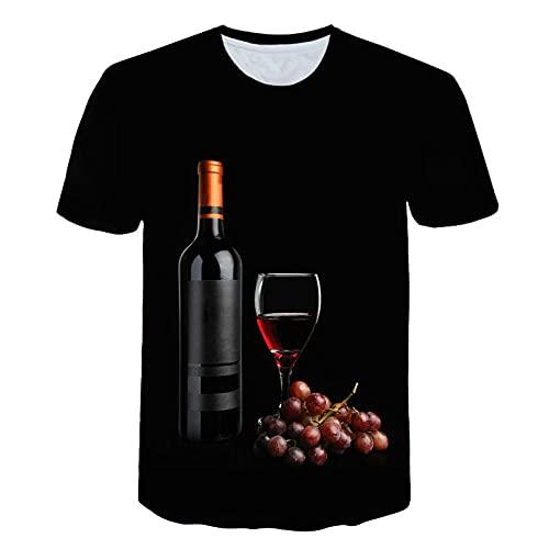 LIUBAOBEI 3D Camisetas para Hombre,Patrón De Uvas De Vino Tinto Camiseta para Hombre Moda De Verano Manga Corta 3D Cuello Redondo Tops Elemento Camisa Moda para Hombre Manga Corta Hip Hop Streetwear-