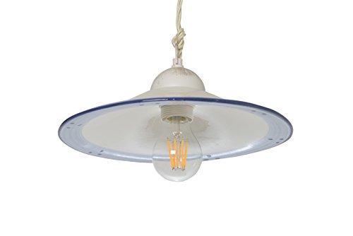 VANNI LAMPADARI - Lampada A Sospensione Piatto Liscio Diametro 30 In Ceramica Decorata A Mano Disponibile In 5 Finiture