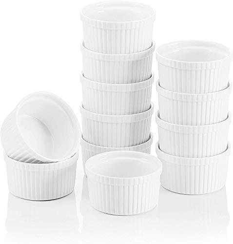 TEAYASON Serie de Moldes Pequeños, 12 Piezas de 9 cm (3,5 Pulgadas) Molde Pequeño de Porcelana Blanca Marfil, Vajilla de Cerámica China en Crema (12 Juegos)
