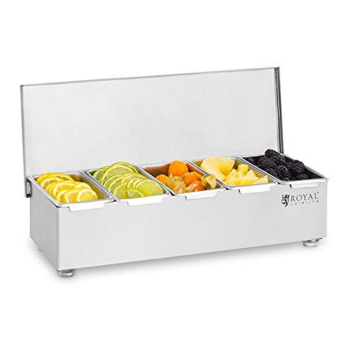 Royal Catering Caja Para Condimentos Condimento Dispensador RCCBS 5 (Acero inoxidable, 5 envases, Capacidad por envase: 450 ml, Cubierta de acero inoxidable, 38 x 15 x 9 cm)
