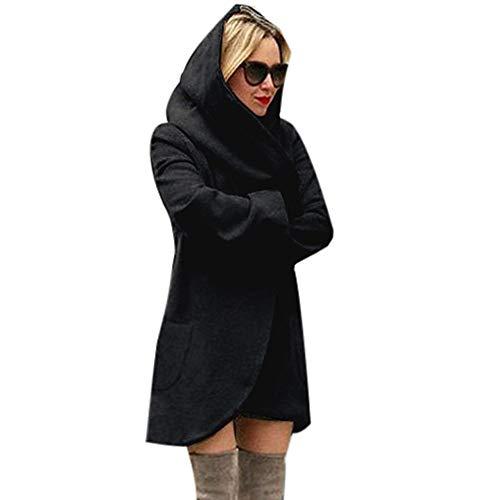 Yowablo Strickjacke Damen Cardigan Woll-Kapuze dünner Mantel lose lässig Hoodies Jacke Mantel Top (M,Schwarz)