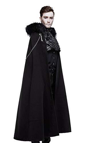 steel master Mantello Nero Lungo da Uomo Mantello Invernale con Cappuccio per Mantello Natalizio Costume (M, Nero)