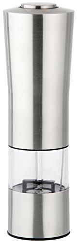 Fackelmann Elektrische Salz-/Pfeffermühle, Gewürzmühle mit Keramikmahlwerk, Gewürzstreuer zum Mahlen aller Gewürz (Farbe: Silber/Transparent/Schwarz), Menge: 1 Stück