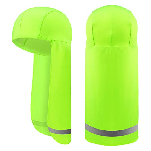 2 Pieces Cooling Breathable Skull Caps Elastic Sun Shade Hat Sun Runner Cap Neck Wrap with Reflective Stripe (Green)