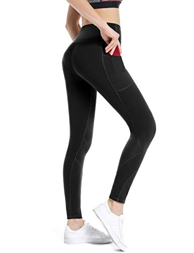 ALONG FIT Leggings Damen mit Taschen, Nicht durchsichtig Sporthose Damen Dehnbar Yogahosen für Damen, Hoch Tailliert-schwarz, S