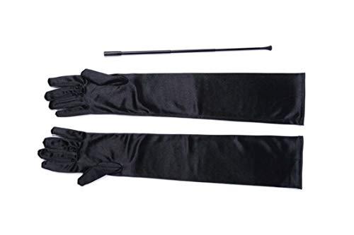 Utopiat Audrey Inspired Black Vintage Cigarette Holder and Long Satin Glove Set