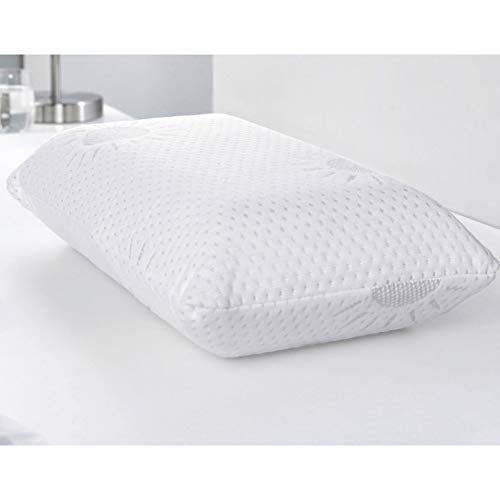 Almohada de viaje (42 x 23 cm), almohada cervical con efecto memoria, funda extraíble, aloe vera, cojín sanitario
