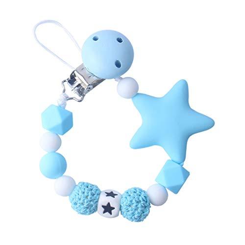 Brucelin Clip para chupete, cadena para chupete, perlas de silicona, juguetes para muñecas, cochecito, juguete, pentagrama, 45 cm, 5 colores