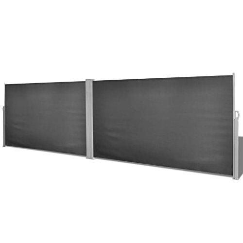 Nishore Store Latéral Rétractable Paravent Extérieur 180x600cm 160x600cm Polyester Gris Noir Crème(2 poteaux et 12 vis Inclus)