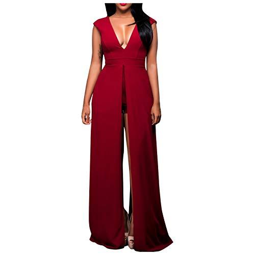 YANFANG Vestido Elegante Largo Mujer, Vestido Dividido Sexy sin Mangas con Cuello en V de Color sólido a la Moda para Mujer, L,Red