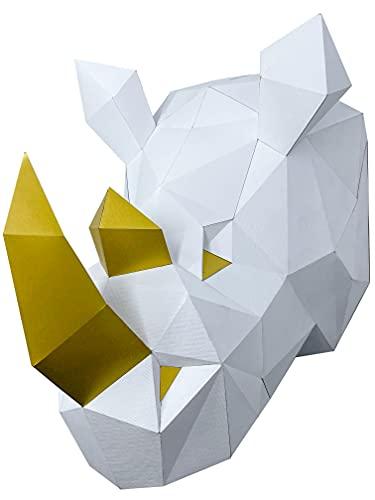 Oh Glam Home Kit DIY Rinoceronte de Pared Papercraft Kit Cartón 3D Escultura Origami 3D Puzzle 3D Decoración niños PRECORTADO (Blanco y Dorado)