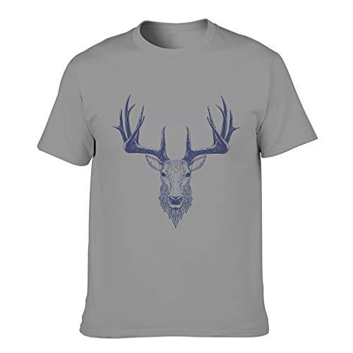 Camiseta de algodón con cabeza de ciervo para hombre - Sketch Art Classic manga corta