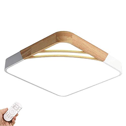 KTDT Lámpara de Techo LED de Montaje Empotrado Moderna de 20 Pulgadas, Accesorio de iluminación para lámpara de Techo LED con Borde de Madera y Metal, 36W 2880lm con Control Remoto para Cocina, d