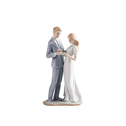 YB&GQ 50o 60o Abuelos Padres,Cerámica Compromiso Estatuas Mano-Pintado Decoración del Hogar Escultura,Amantes Pareja De Ancianos Figurines