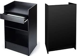 Black Cash Register Stand, Adjustable Shelf, Drawer, 24