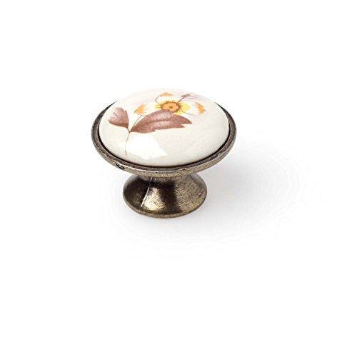 "Estante Depot""Brown Flower–Pomo de Porcelana latón envejecido (10unidades)"