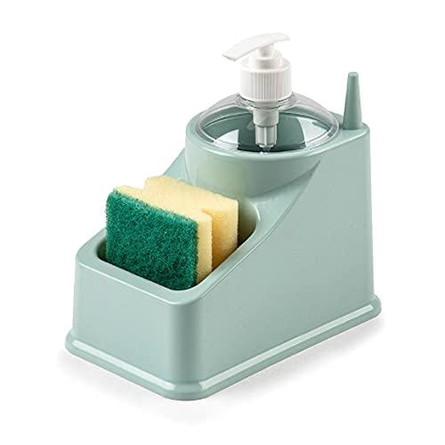 Estropajero, dispensador jabón Cocina, Porta estropajos y esponjas, Dispensador de Jabón 2 en 1 y Soporte de Esponja Dosificador Jabón Cocina. (Azul)