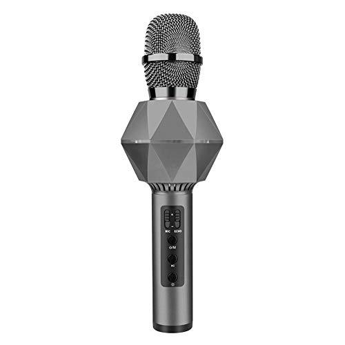 Zyangg-Home Micrófono Karaoke Altavoz Reproductor de Karaoke portátil Bluetooth inalámbrico Karaoke micrófono de Mano con Flash LED Compatible con Android para el Canto (Color : Black)