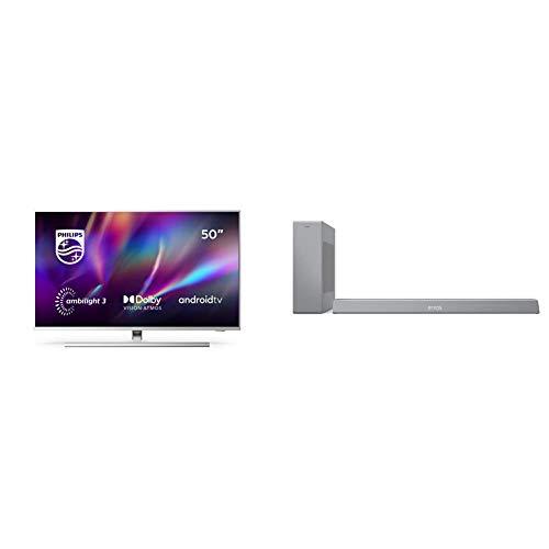 Philips 50PUS8505/12 Ambilight - Smart TV de 50' (4K UHD, P5 Engine, Dolby Vision∙Atmos, Control de Voz, Android TV) + Barra de Sonido con Subwoofer B8505/10 (Bluetooth, 240W, DTS Play-Fi) Plata