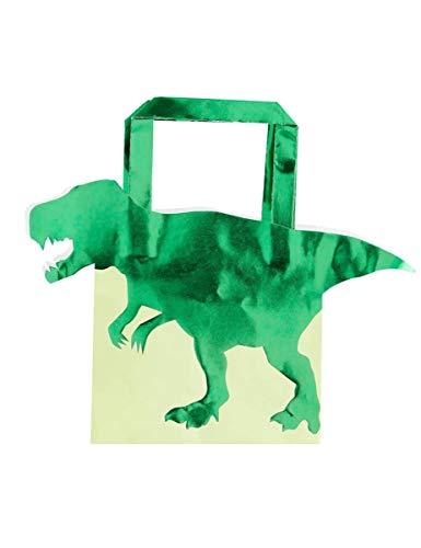 COOLMP – Lote de 3 – 5 bolsas de regalo de papel dinosaurio verde metalizado, 22,5 cm – Talla única – Decoración y accesorios de fiesta, animación festiva, cumpleaños, boda, evento, juguete, cotillon