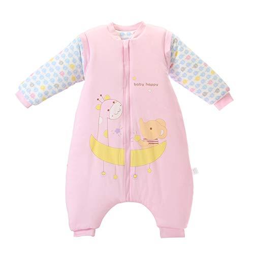 Bebé Saco de Dormir Invierno para Niños Niñas Manga larga Algodón Pijama Mamelucos Mono Traje de dormir 2-4 años,blanco