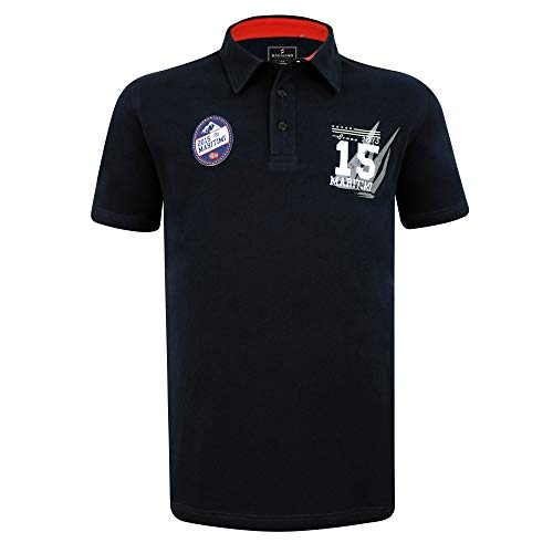 SAVALINO Men's Classic Short Sleeve Sailing Rugby Polo Shirt, Regular fit, Cotton Leisure Wear Black