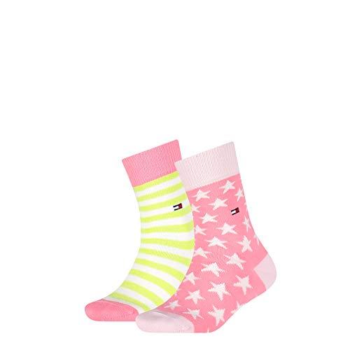 Tommy Hilfiger Girls Stars and Stripes Unisex Kids (2 Pack) Socks, Green/Pink, 35/38