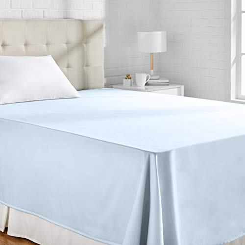 Amazon Basics - Sábana encimera (algodón satén 400 hilos, antiarrugas), 230 x 260 + 10 cm - Azul Ahumando