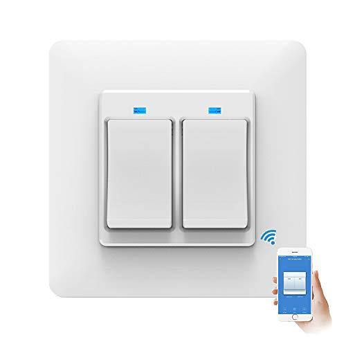 TopHGC Interruptor de luz Inteligente WiFi, Control Remoto del teléfono Control de Voz Toque Sensible con luz indicadora Compatible con Alexa y Google Assistant (2 Gang)