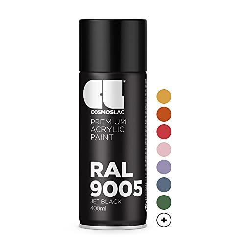 CL COSMOS LAC Sprühlack schwarz, glänzend - Spraydosen Sprühfarbe DIY Lack Acryllack Spray Farbspray Sprühdose Lackspray Farbe für Kunststoff, Metall, UVM. (RAL 9005 - schwarz glänzend)