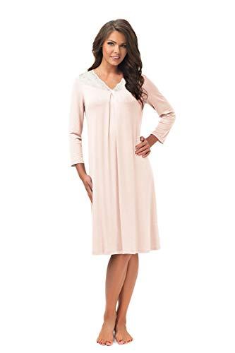 e.FEMME® Damen Nachthemd Lena II 860 aus Baumwolle und Lenzing® Modal, Lachs 46