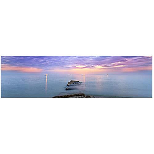 Ywsen Natürliche Gold Strand Sonnenuntergang Landschaft Poster und Drucke Leinwand Gemälde Mediterran Wandkunst Bild für Wohnzimmer Room kein Rahmen 60x180cm