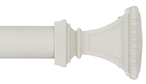 Ivilon Decorative Window Curtain Rod - Carved Square Finials, 1 1/8 in Rod, 28 to 48 in. White/Ivory
