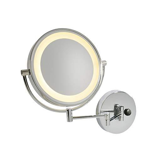 SLV Miroir Grossissant Orientable Lumineux VISSARDO | Acier/Verre Couleur Argent | Bras Mobile Orientable Inclinable | Salle de Bain Maquillage