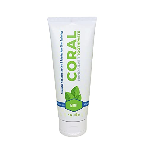 Coral White Nano Silver Mint Toothpaste, Natural Fluoride Free Teeth Whitening Toothpaste, Coral Calcium SilverSol® Infused SLS Free 4 Ounce (1 Pack)