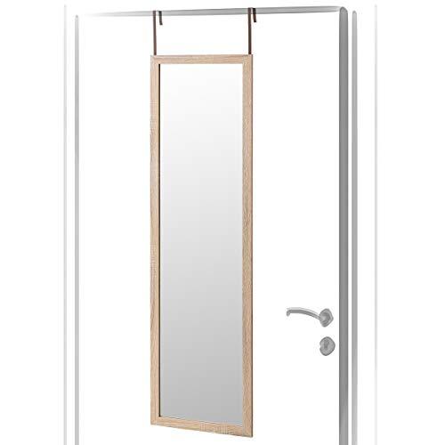 Espejo de Puerta de Madera MDF Beige nórdico para Dormitorio de 35 x 125 cm France - LOLAhome