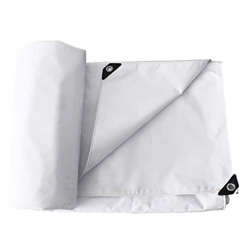 DFREW Thicken Heavy Duty Tarpaulin- 100% Rainproof Anti-Mildew Tear Resistance Anti-Aging Tent Tarp Awnings Cover Cloth,500G/M²- White,3Mx6M,3Mx6M