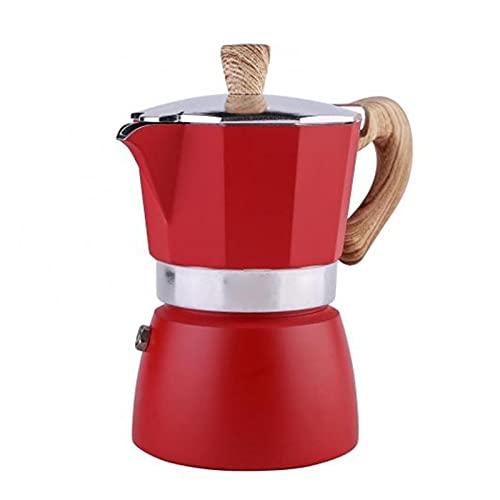 XUEXIU 60% De Ventas !!!Tetón Octogonal De Aluminio Classic Mocha Tetera Cafetera Kettle Portátil (Color : Red)