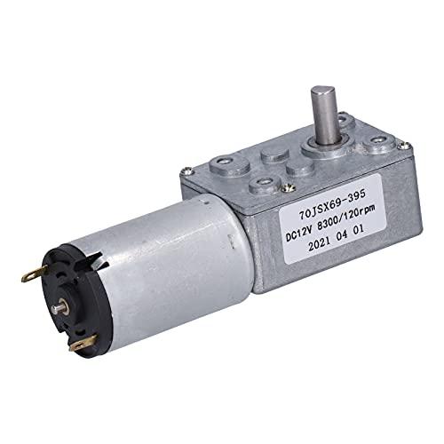 Motor de Reducción de 12 V CC 120 RPM Motor Eléctrico con Engranaje Helicoidal de Turbina Turbo Reversible de Alto Par Fuerte Autoblocante