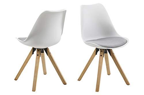 Amazon Brand - Movian Arendsee - Juego de 2 sillas de comedor, 55 x 48,5 x 85cm, Blanco/ tapizado gris claro
