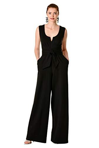 eShakti FX Zip Front Cotton Knit Palazzo Jumpsuit L-12 Black