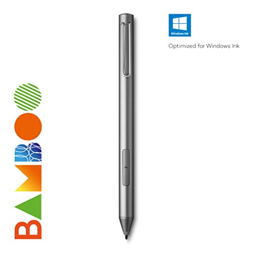 Bamboo Ink Active Penna Digitale, 2a Generazione, 4.096 Livelli di Pressione per Dispositivi Touchscreen Microsoft Windows 10, Certificati Windows, Grigio